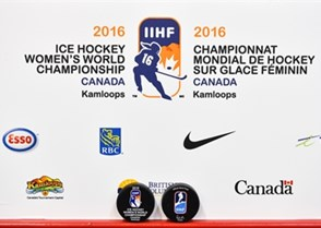 KAMLOOPS, BC - MARCH 31: Official tournament pucks during preliminary round at the 2016 IIHF Ice Hockey Women's World Championship. (Photo by Matt Zambonin/HHOF-IIHF Images)