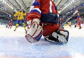 KAMLOOPS, BC - APRIL 1: Russia's Nadezhda Morozova #1 couldn't make the save on this play as Sweden's Johanna Olofsson #7 scores a first period goal during quarterfinal round action at the 2016 IIHF Ice Hockey Women's World Championship. (Photo by Andre Ringuette/HHOF-IIHF Images)