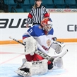 KAMLOOPS, BC - APRIL 3: Russia's Anna Prugova #31 makes the save during semifinal round action against the U.S. at the 2016 IIHF Ice Hockey Women's World Championship. (Photo by Andre Ringuette/HHOF-IIHF Images)